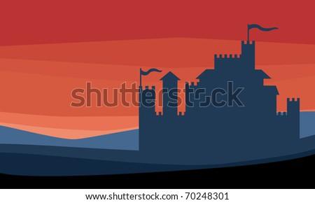 Castle silhouette - stock vector