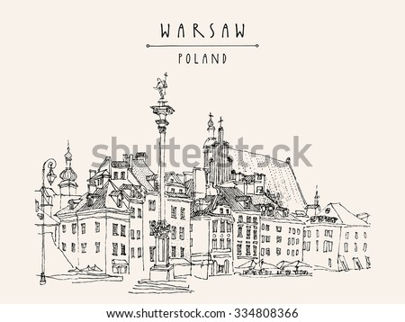 Castle Square in old center of Warsaw, Poland. Historic buildings. Travel sketch, hand lettering. Monochrome black and white vintage postcard template. Artistic vector hand drawn linear illustration - stock vector