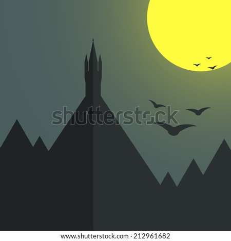 Castle standing alone on the top of the mountain. Moon light, birds. Halloween card template. Fairytale castle illustration.  - stock vector
