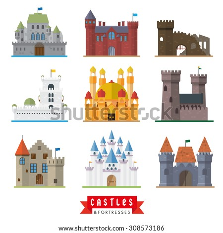 Castles and fortresses vector icons. Set of 9 flat design icons for castle, fortress, ruin, mansion, palace, villa. - stock vector