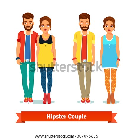 Casual dressed standing hipster couple. Flat style vector illustration isolated on white background. - stock vector