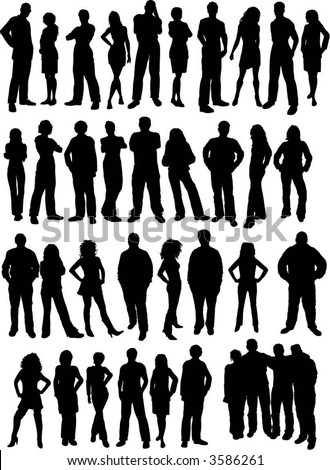Casual people silhouettes - vector
