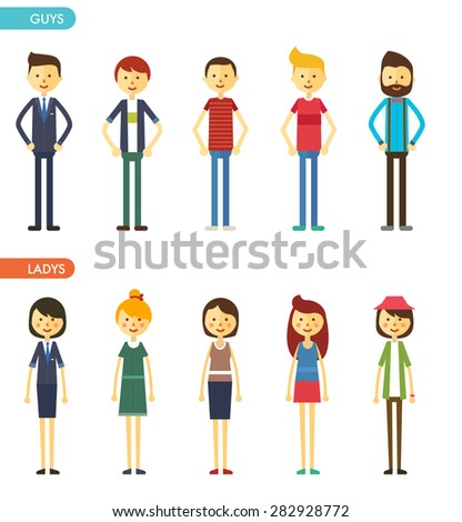 casual set characters for use in design. vector flat illustration - stock vector