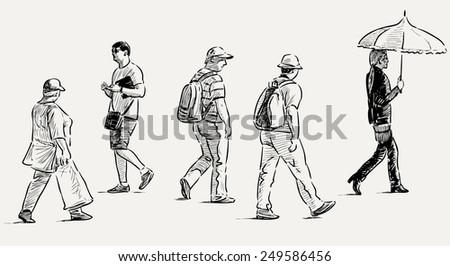 casual townspeople - stock vector