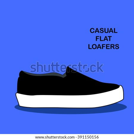 Casual woman and man flat loafers espadrilles shoes types vector illustration