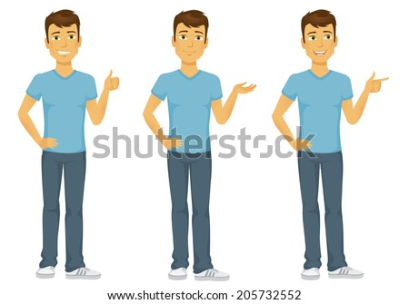 Casually dressed happy cartoon man gesturing, thumbs up, pointing and presenting - stock vector