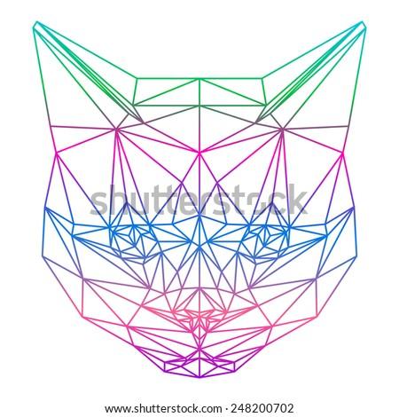 Cat. Abstract cat. Cat. Polygonal cat. Geometric cat. Triangle cat. Lined cat. Abstract cat portrait. Graphic cat. Cat gaze. Cat close up. Isolated cat. Cat. Cat icon. Cat portrait. Cat. Cat card. - stock vector
