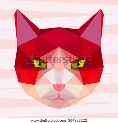 Cat. Abstract cat. Cat. Polygonal cat. Geometric cat. Triangle cat. Red cat. Abstract cat portrait. Cat. Graphic cat. Cat gaze. Cat close up. Isolated cat. Cat. Cat icon. Cat portrait. Cat. Cat card. - stock vector