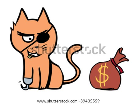 cat and bag with money isolated in a white background - stock vector