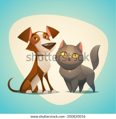 Cat and Dog characters. Cartoon styled vector illustration. - stock vector