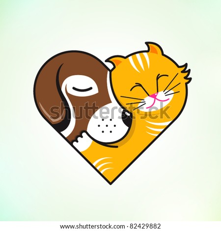 cat and dog embrace love - stock vector