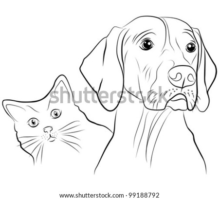 cat and dog - freehand on white background, vector illustration - stock vector