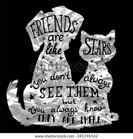 Cat and dog friends silver foil card for Friendship Day with quote. Lettering greeting cards for all holidays series. - stock vector