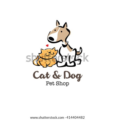 Cat and dog icon vector illustration - stock vector