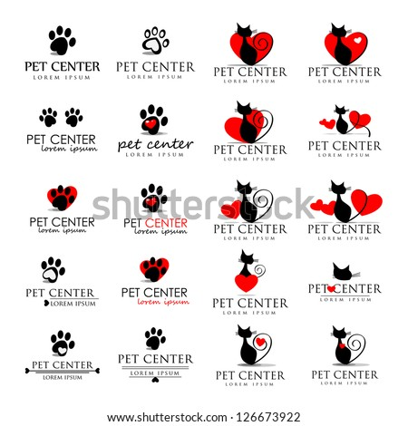 Cat And Dog Icons - Isolated On White Background - Vector Illustration, Graphic Design Editable For Your Design - stock vector