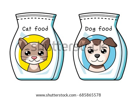 Cat Dog Pet Food Bag Isolated Stock Vector 685865578 ...