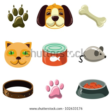 cat and dog with toys and food - vector illustration set - stock vector