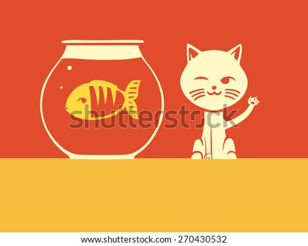 cat and fish - stock vector