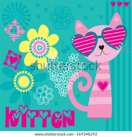 cat and flowers background invitation card vector illustration - stock vector