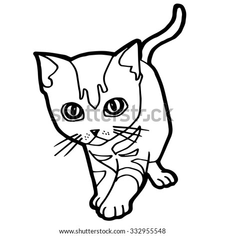 Cat Kitten Coloring Page Vector Stock Vector HD (Royalty Free ...