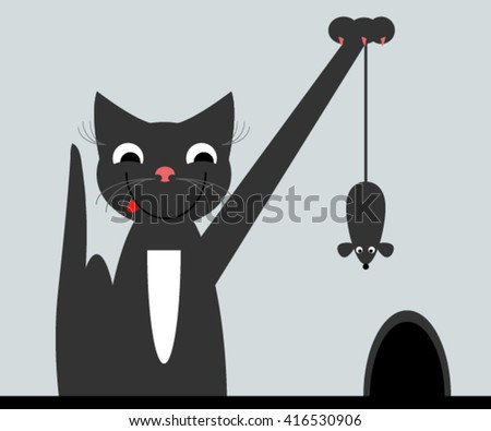 Cat and mouse. - stock vector