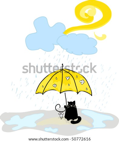 cat and mouse with umbrella - stock vector