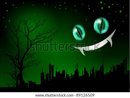 cat and night - stock vector