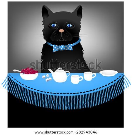 Cat and tea table cartoon - stock vector