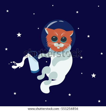 Cat astronauts in space with milk, vector illustration. Cat as a cosmonaut, space suit, milk and stars.