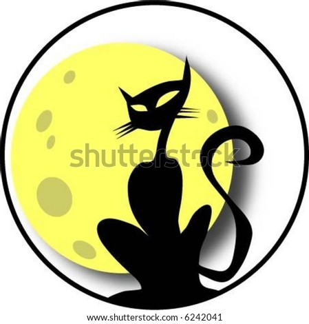 cat at the moon - stock vector