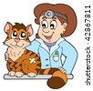 Cat at veterinarian - vector illustration. - stock photo