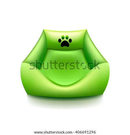 Cat bed isolated on white photo-realistic vector illustration - stock vector
