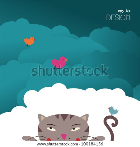 Cat & birds � hunting card � vector design - stock vector
