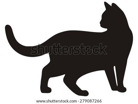 cat, black silhouette, vector icon - stock vector