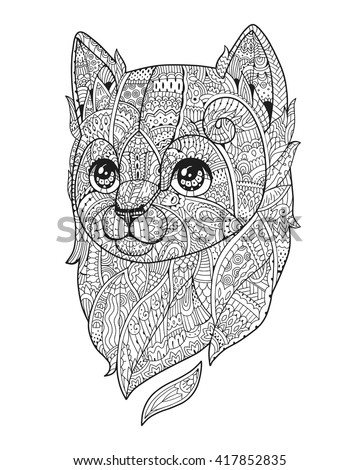 Cat black white vector zen art hand drawn fluffy animal portrait in zentangle