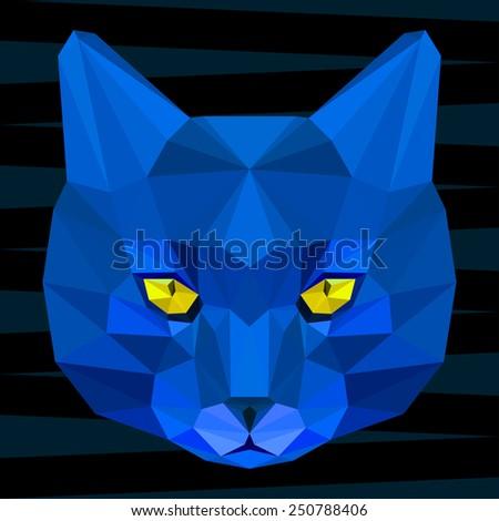 Cat. Blue cat. Abstract cat. Cat icon. Cat. Polygonal cat. Cat. Geometric cat. Cat portrait. Abstract cat. Cat. Graphic cat. Cat gaze. Cat icon. Isolated cat. Cat. Cat icon. Cat icon. Cat icon. Cat - stock vector