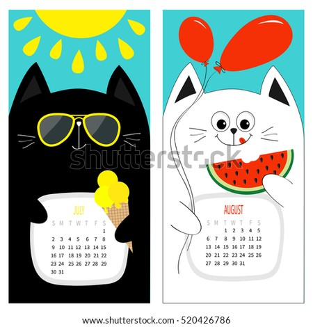 Cat Calendar 2017 Cute Funny Cartoon Stock Vector 520426789 - Shutterstock