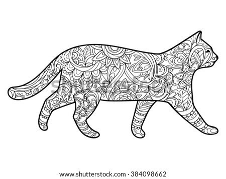 Cat Coloring Book Adults Vector Illustration Stock Vector ...