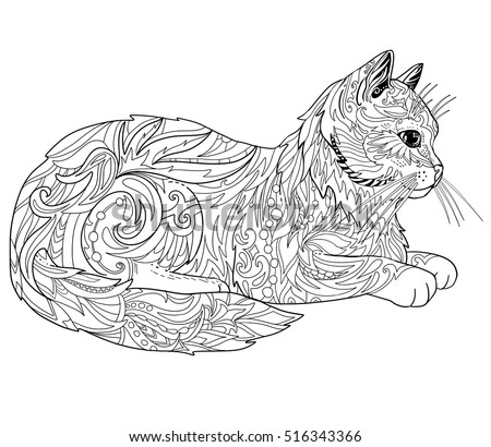 cat coloring book page ethnic decorative doodle cat isolated on white - Cat Coloring Books