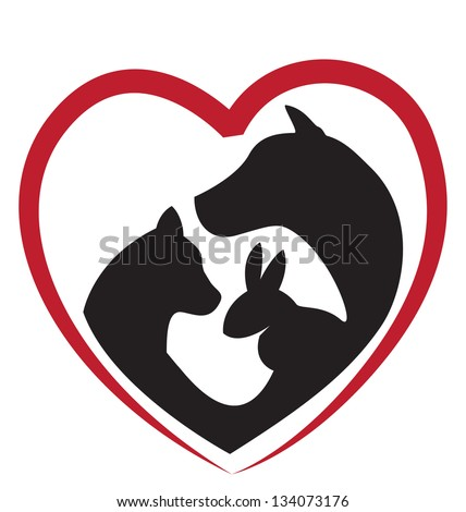 Cat, dog and rabbit silhouettes in a big heart -icon creative design - stock vector