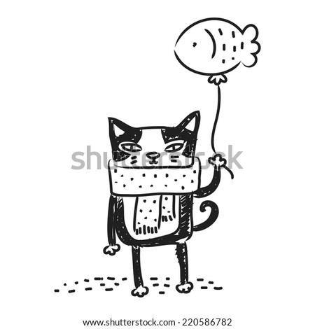 Cat drawing, doodle. Funny cartoon kitten vector line art.  - stock vector