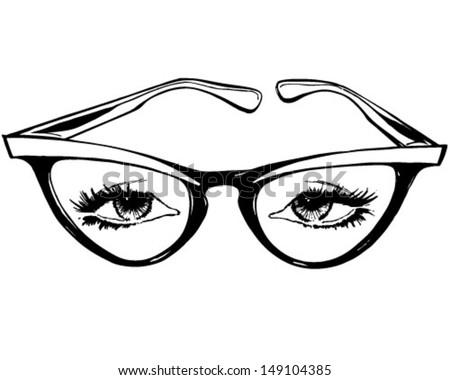 cat eye glasses retro clip art stock vector 149104385 shutterstock rh shutterstock com clipart eyes popping out clipart eye chart