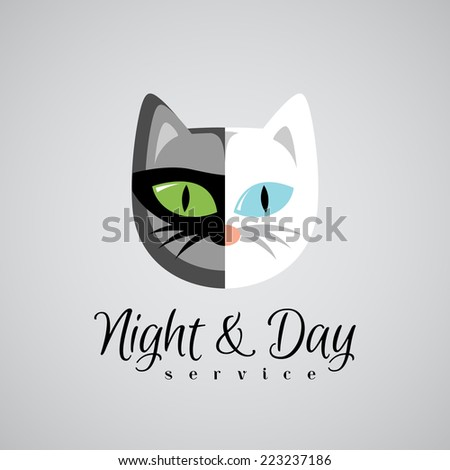 Cat face logo template. Dark gray and white color cats. Day and  - stock vector