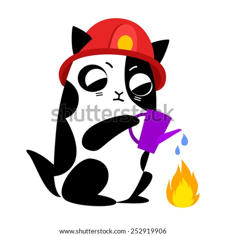 cat firefighter profession - stock vector