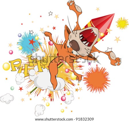 Cat flying on fireworks - stock vector