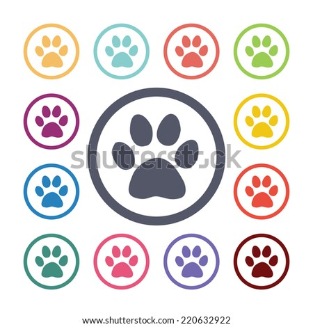 cat footprint flat icons set. Open round colorful buttons. Vector