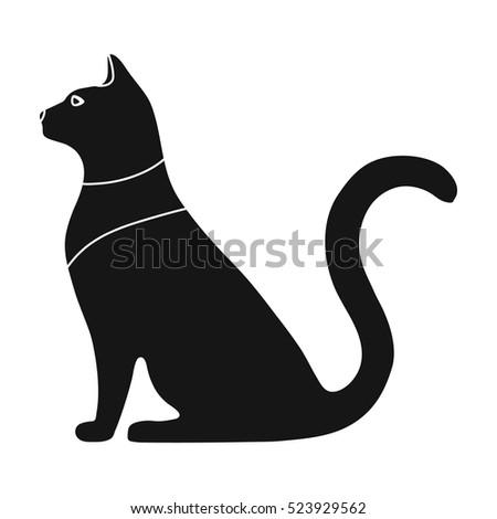 Cat Goddess Bastet Icon Black Style Stock Vector 523929562