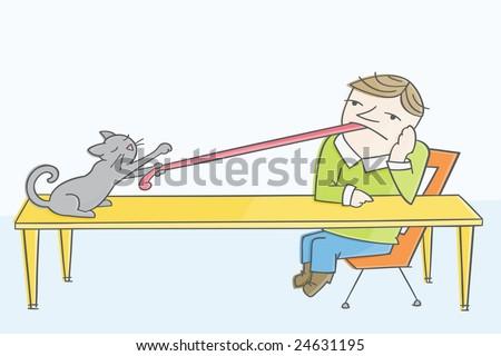 Cat got your tongue? - stock vector