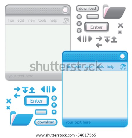 cat GUI neutral and BLUE - stock vector
