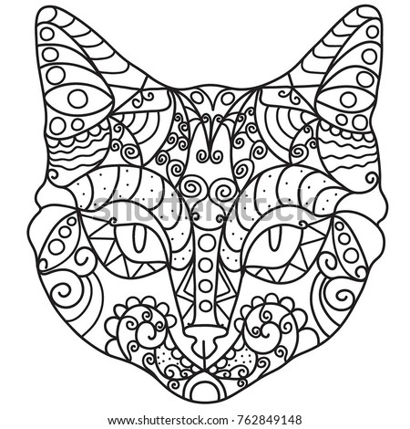 cat head coloring page - cat head drawing mandala pattern coloring stock vector
